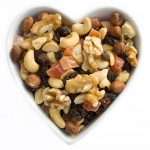 Dried fruits and nuts in a heart